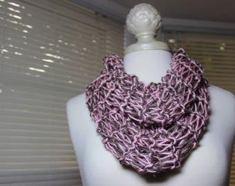 CraftyDesignsByJane.etsy.com pink taupe sparkle knitted womans cowl, bohemian scarf, boho scarf, outlander scarf, Sassenach