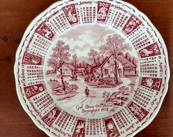 Alfred Meakin  Staffordshire England Hand Engraved Pink Calendar Plate