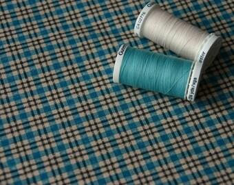 Vintage blue and beige plaid fabric