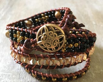 Orleans leather wrap bracelet.  Beaded leather wrap bracelet.  Boho style beaded bracelet.
