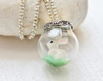Bubble necklace with miniature Bunny