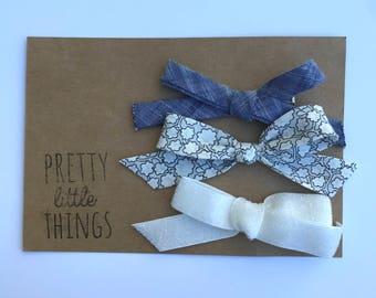 Set of three handtied bows - clips or nylon headbands