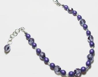 Amethyst Purple Satin Crystal Beaded Bracelet