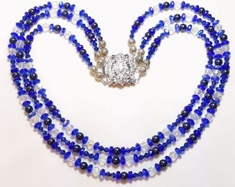 Something Blue Triple Strand Bridal Wedding Necklace Earrings Set