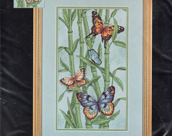 Butterflies and Bamboo Nature Themed Counted Cross Stitch Kit