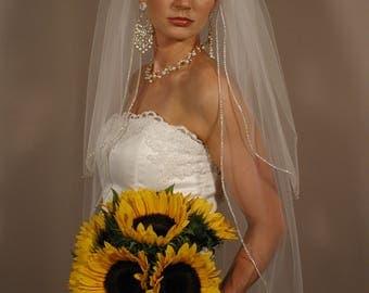 "25""/36"" Two-Tier Sparkling Wedding Veil with Rhinestones Edge"