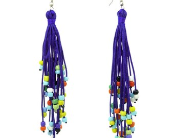 Long multicolored beads and blue hard wire dangling earrings