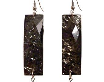 Large black resin rectangle woman silver night