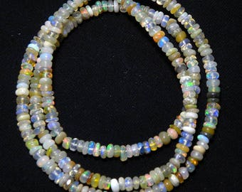 """Natural Ethiopian welo opal smooth beads 3 M.M. 16"""" strand/necklace,mix color opal roundel beads necklace, fire opal beads strand:-AJ17"""