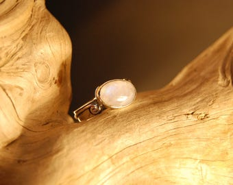 "Handcrafted ""Rainbow"" and original Moonstone silver ring"