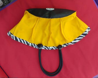 Yellow, canvas tote, zebra edging, rope handles