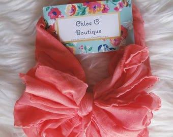 Coral Pink Ruffle Messy Bow Headband