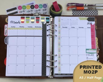 PRINTED Monthly Planner 2018 Dated, Monthly Planner Inserts, MO2P, A5, Half Page, Monthly Calendar, Filofax, Kikki K