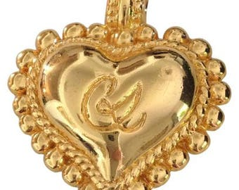 Vintage CHRISTIAN LACROIX vintage jewelled gold toned heart Pendant/Brooch.