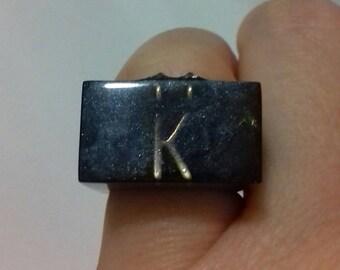 Letter K Night resin ring