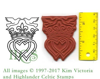 Luckenbooth Doves Scottish Unmounted Rubber Stamp Love Hearts