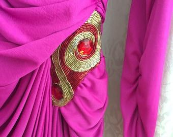 Vintage Tadaski Dress with Side Ruching and hip embellishment