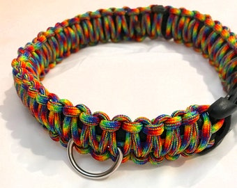 "Rainbow 16"" Paracord Dog Collar"