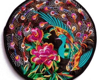 1 large flat round multicolor satin and black birds flowers turquoise Peacock embroidery multicolor ethnic 19.5 cm