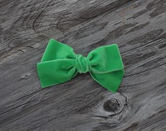 St Patricks day - green - Oversized - Schoolgirl - velvet bow- baby - hair bow - alligator clip - nylon headband -ADDILYN STYLE