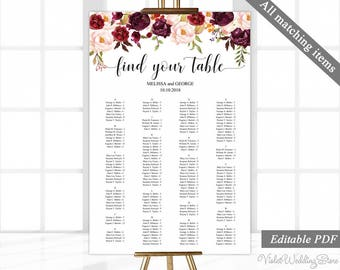 Marsala Alphabetical Seating Chart Template. Printable Wedding Seating Chart. Wedding Seating Plan. Find Your Seat Poster. Floral Blush