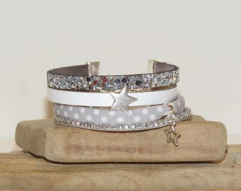"""""""Grey polka dots"""" Cuff Bracelet in leather, glitter, suede, through light gray, white and silver color"""