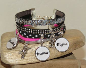 Cuff Bracelet personalized with 3 names of your choice, leather, suede, bias, black, white, neon pink