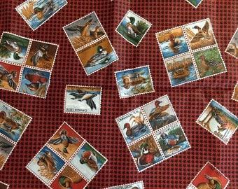 Vintage Duck Stamp Fabric, Quilt Fabric, Decorator Fabric, Wildlife Design, Duck Hunter Fabric, Quilting Cotton