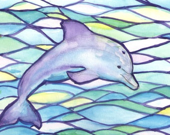 Postcard-colorful dolphin