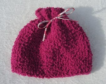 9-18 months: Cap girl hot pink plush wool hand knitted