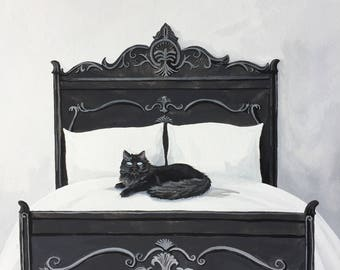 Bed of Bad and Cathartic Dreams - art - painting - witch - black cat