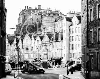 Street Castle Digital Photography Download Black White Edinburgh Scotland Printable Wall Art Desktop Background DIY Home Decor Large Print