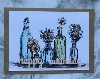 Flower Mantle Happy Birthday Card