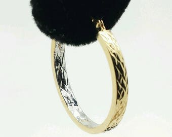 14k Gold Diamond Cut Two Tone Square Tube Hoop Earrings 3mm x 25mm
