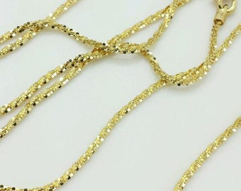 "14k Solid Yellow Gold Diamond Cut Sparkle Necklace Chain 16""-20"" 1.1mm"