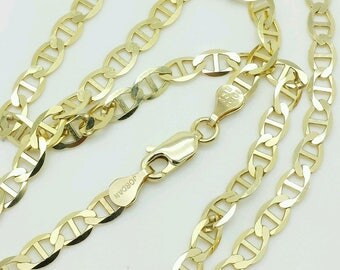 """10k Solid Yellow Gold Mariner Anchor Necklace Pendant Chain 18"""" 20"""" 22"""" 24"""" 30"""" 4.0mm"""