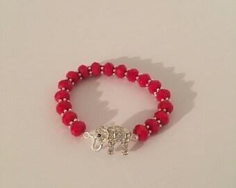 Red elephant charm bracelet