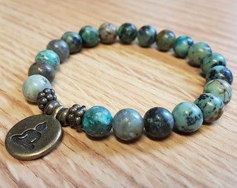 Adjustable Bracelet African Turquoise with Buddha Charm Mala SM0055