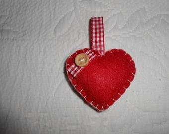 Red hanging felt heart