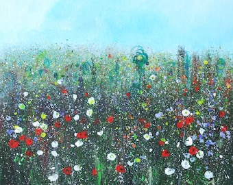 Original painting of poppies and meadow flowers, acrylic and inks mixed media painting