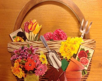 "Card 3D ""basket of flowers / gardening"" - for all occasions - handmade"