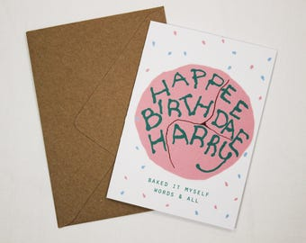 Personalised card / Happy Birthday Muggle / Teen Birthday card / Fun Card / Cake Card / Cute Card / Card for him / Card for her / Funny card