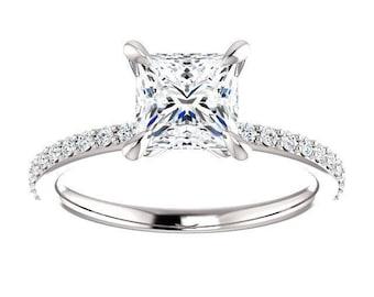 Forever One Moisanite Wedding Band Ashley | princess | solitaire moissanite engagement ring