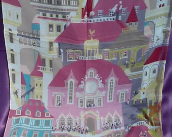 Vintage City Scene Scarf Printed Shawl Castle Houses Street People Scarf Trendy Scarves Beautiful Unusual Scarf Multicolor Scarf Woman Scarf