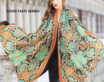 Gold Pashmina Scarf Green Cashmere Scarf Renaissance Ornaments Scarf Vintage Shawl Retro Scarf Luxury Scarf Ladies Royal Scarves Wool Scarf