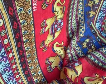 Elephants Scarf Multicolor Elephants Scarves Animal Scarf Red Bohemian Scarf Boho Shawl Indian Tribal Scarf Red Womens Scarf Ethnic Scarf