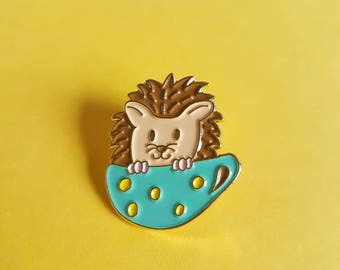Hedgehog in teacup soft enamel pin