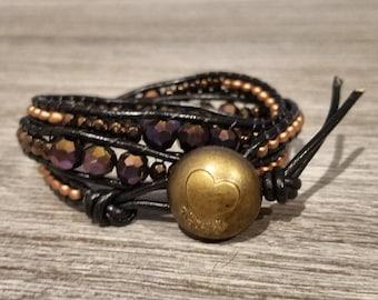 Bronze and purple gasolinespill beaded bracelet, leather wrap bracelet, boho