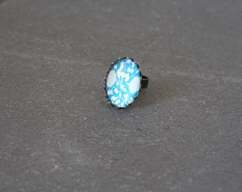 Retro oval ring, turquoise glass cabochon