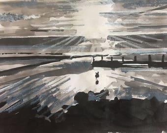 Running dog. Sunset,monochrome,beach,painting